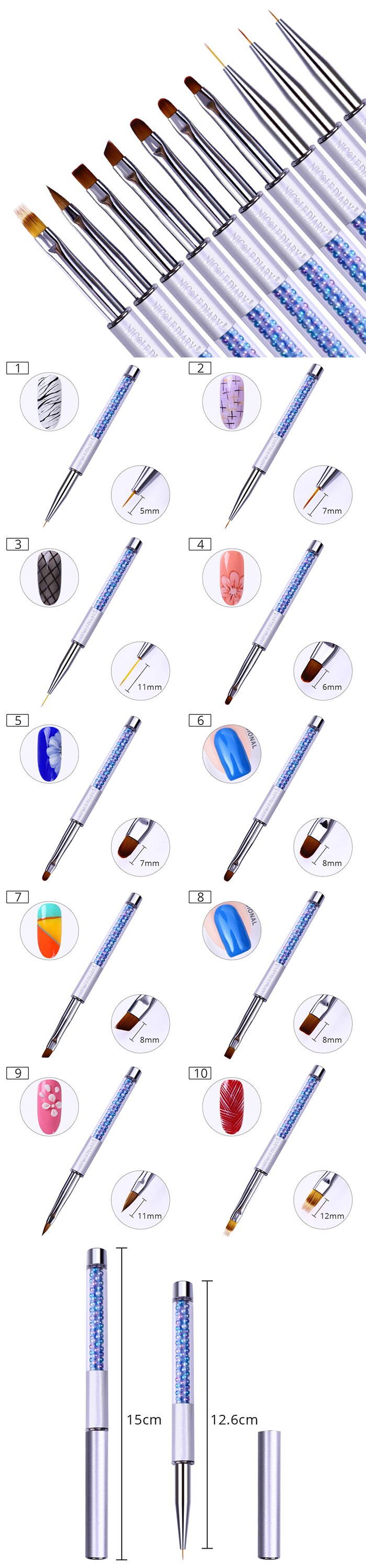 very useful designer acrylic and gel brushes for nails