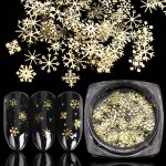 Gold Nail Glitter Sequins Snow Flakes Mixed Design Decorations for Nail Arts Pillette Nail Accessories