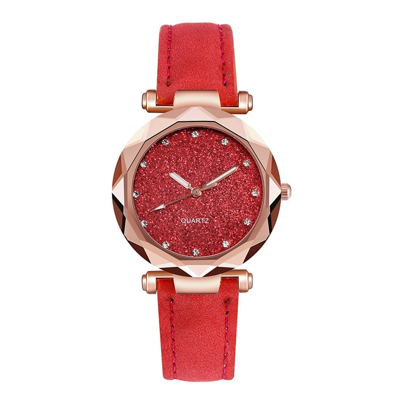 High-quality tempered glass leather wrist watch for women.