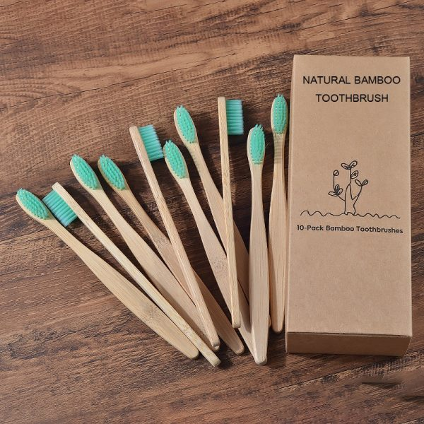 New design mixed color bamboo toothbrush Eco Friendly wooden Tooth Brush Soft bristle Tip Charcoal adults oral care toothbrush 4