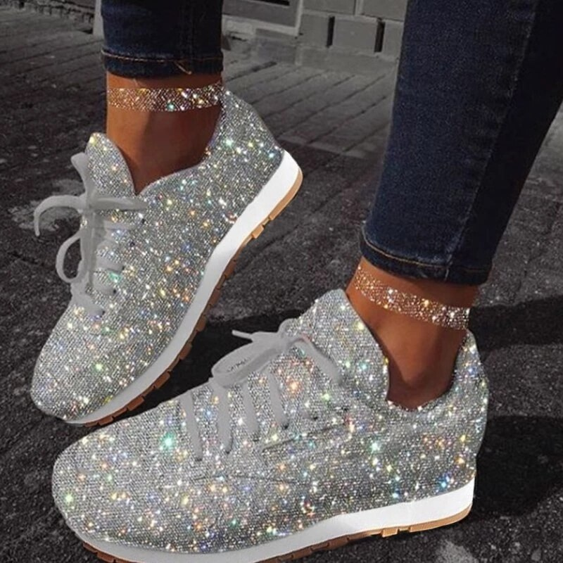 best women's vulcanized sneakers with bling for style