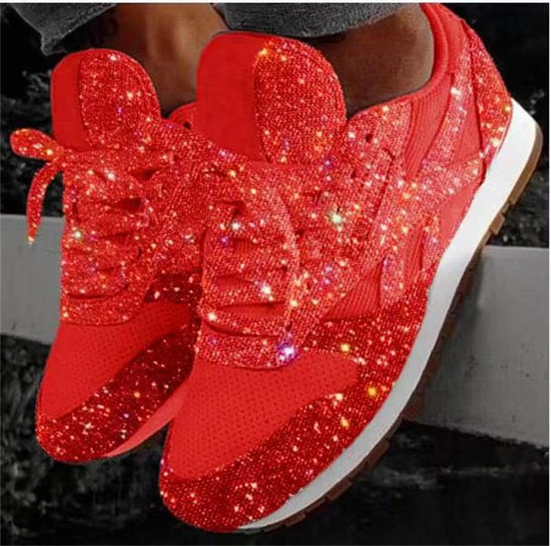 casual women's dress bling shoes red