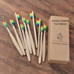 New design mixed color bamboo toothbrush Eco Friendly wooden Tooth Brush Soft bristle Tip Charcoal adults oral care toothbrush 2