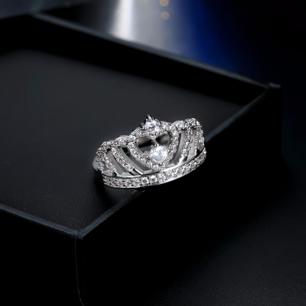 white gold wedding engagement heart crown ring princess cut cheap