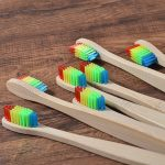 New design mixed color bamboo toothbrush Eco Friendly wooden Tooth Brush Soft bristle Tip Charcoal adults oral care toothbrush 3
