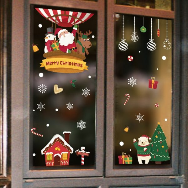 2020 Merry Christmas Wall Stickers Window Glass Festival Wall Decals Santa Murals New Year Christmas Decorations for Home Decor 2