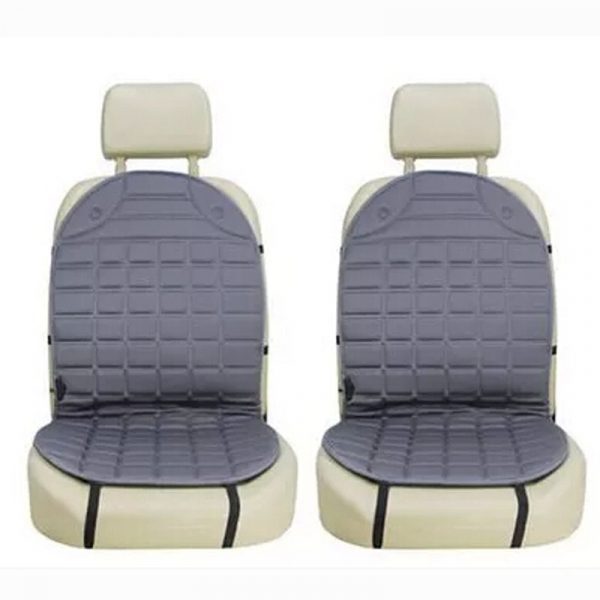 heated car seat cushion with lumbar support double seat gray