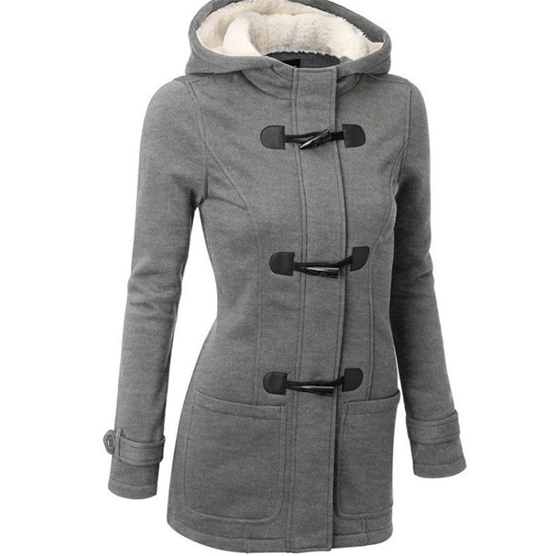 long hooded coat womens in grey color