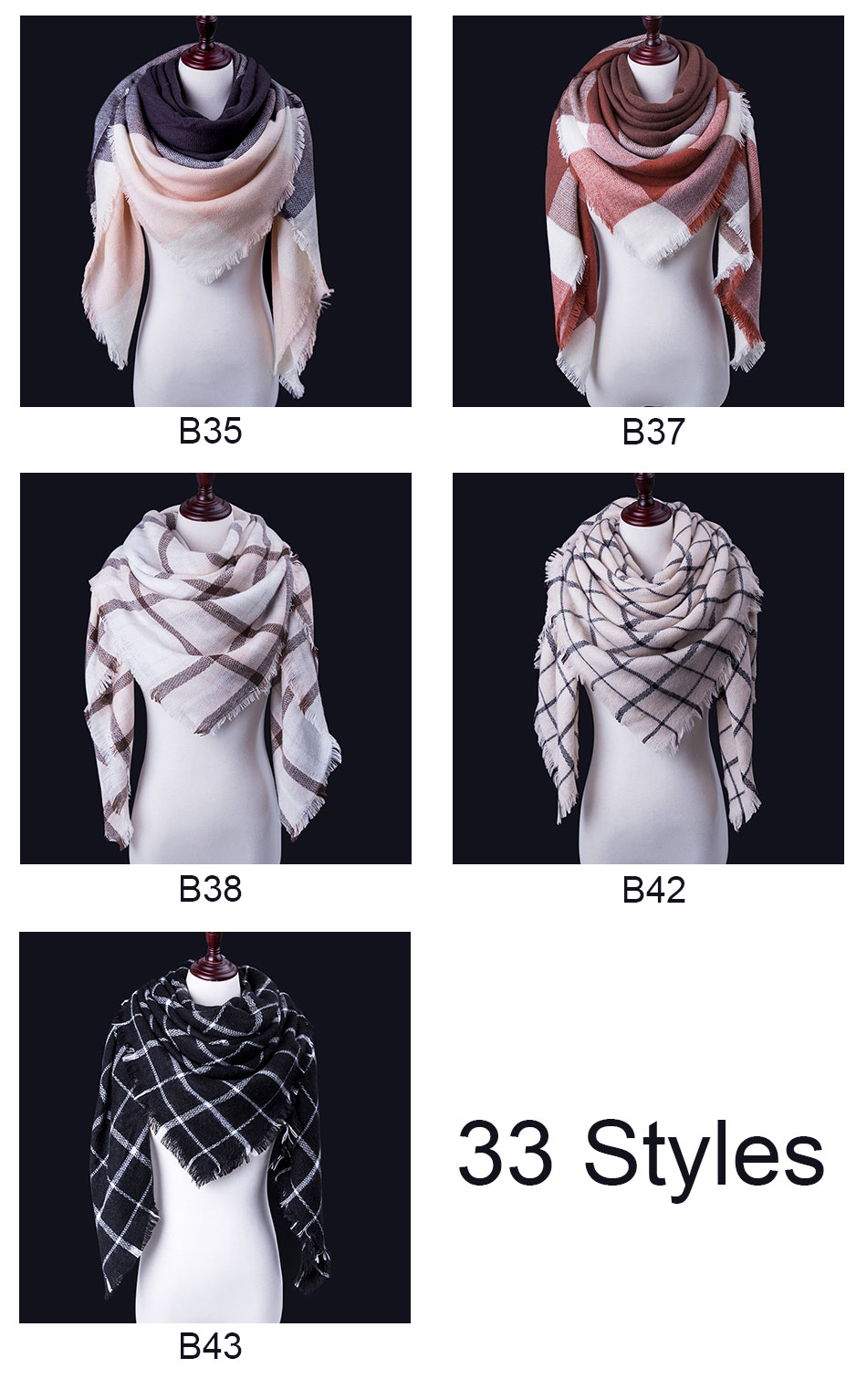 winter head scarves with different styles