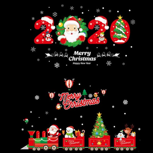 2020 Merry Christmas Wall Stickers Window Glass Festival Wall Decals Santa Murals New Year Christmas Decorations for Home Decor 5