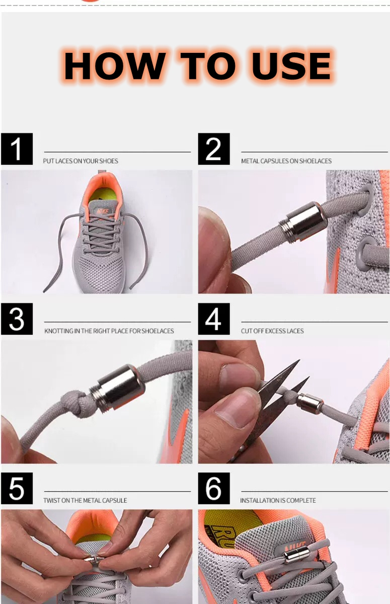 how to use elastic no tie shoelaces